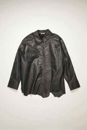 Acne Studios  FN-WN-BLOU000443 Anthracite grey  Creased leather overshirt