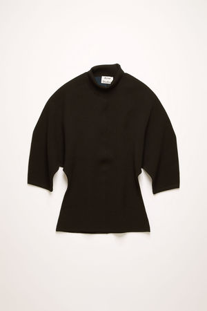Acne Studios  FN-WN-KNIT000196 Schwarz  Kurzarm-Pullover mit hohem Halsausschnitt beige