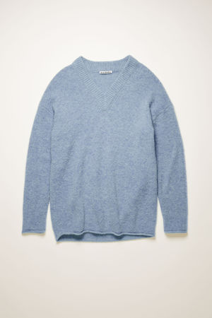 Acne Studios  FN-WN-KNIT000240 Dusty blue Oversized v-neck sweater grau