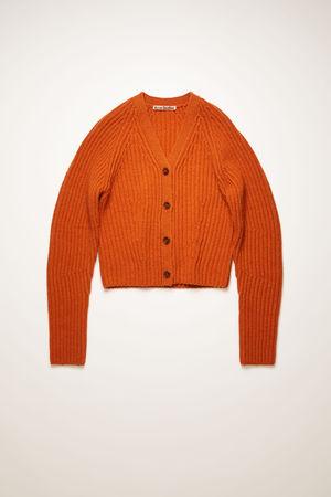 Acne Studios  FN-WN-KNIT000251 Pumpkin orange Ribbed wool cardigan