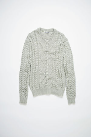 Acne Studios  FN-WN-KNIT000353 Silver grey Cable knit sweater braun