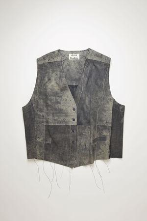 Acne Studios  FN-WN-LEAT000084 Holzkohlengrau  Weste aus Wildleder im Used-Look grau