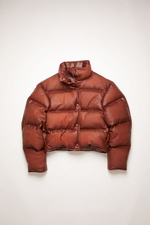 Acne Studios  FN-WN-LEAT000091 Rusty brown Leather puffer jacket grau