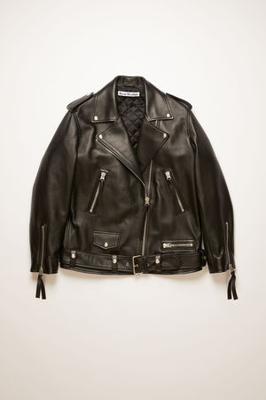 Acne Studios  FN-WN-LEAT000121 Black Oversized biker jacket grau