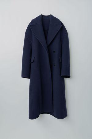 Acne Studios  FN-WN-OUTW000163 Meliertes Marineblau  Skulpturartiger Mantel grau