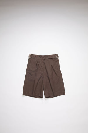 Acne Studios  FN-WN-SHOR000039 Dark brown Belted cotton shorts grau
