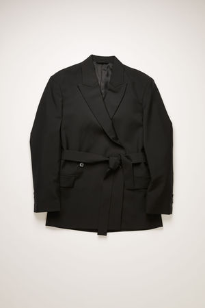 Acne Studios  FN-WN-SUIT000182 Schwarz Zweireihige Jacke mit Gürtel in Schwarz grau