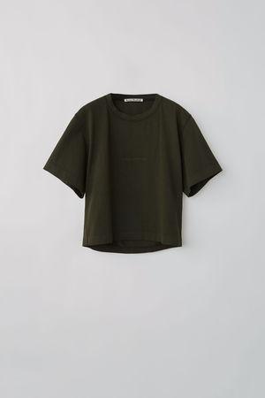 Acne Studios  FN-WN-TSHI000141 Waldgrün  T-Shirt mit Logoprägung grau