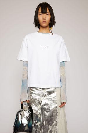 Acne Studios  FN-WN-TSHI000196 Optisches Weiß Logo-T-Shirt grau