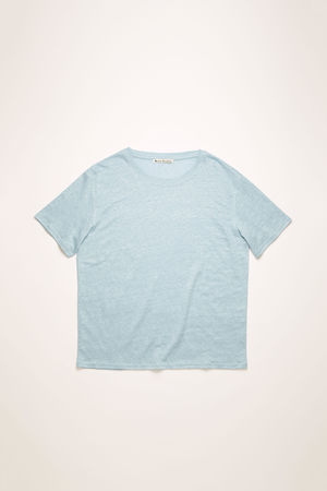 Acne Studios  FN-WN-TSHI000199 Puderblau  T-Shirt aus Leinen grau