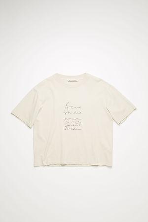 Acne Studios  FN-WN-TSHI000230 Meliertes Weiß  T-Shirt mit aufgesticktem Logo braun