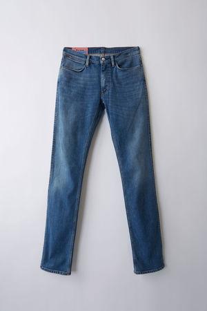Acne Studios  Max Mid Blue Farbe  Jeans in schmaler Passform mit niedrigem Bund silber