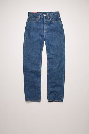 Acne Studios  Mece Dark Blue Trash Dunkelblau  Gecroppte Jeans in gerader Passform grau