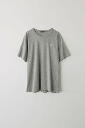 Acne Studios  Nash Face Hellgrau-meliert  T-Shirt mit kurzem Ärmel grau