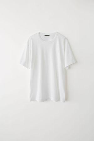 Acne Studios  Nash Face Optisches Weiß  T-Shirt mit kurzem Ärmel grau