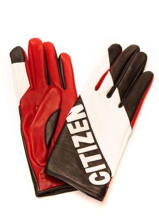 Agnelle Leder-Handschuhe in Schwarz, Weiß und Rot rot