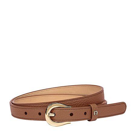 Aigner  Damen Logo Gürtel 2 cm Genarbtes, Rindleder in Walnut Brown, Größe 100 braun