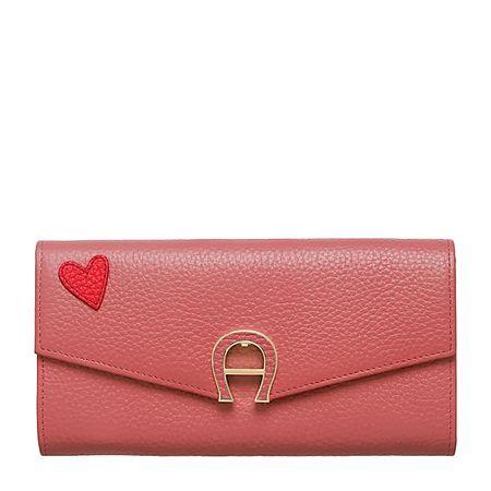 Aigner  Damen Portemonnaie mit Herzsticker, Druck in Rose, Einheitsgröße rot