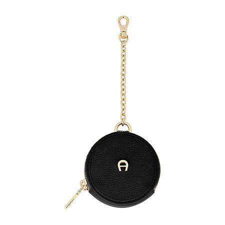 Aigner  Damen Runder Etui Anhänger Materialmix (Metall +, Leder) in Schwarz schwarz