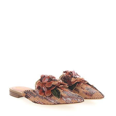 Alberta Ferretti Pantoletten MIA Pailletten Blumen-Deko rosé braun