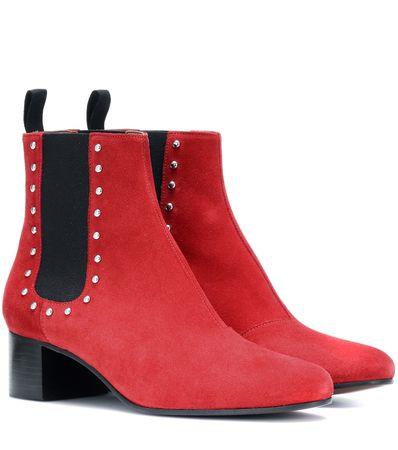 Alexa Chung Ankle Boots aus Veloursleder rot