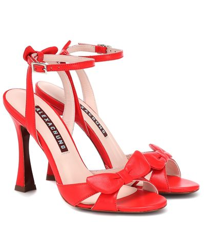 Alexa Chung Verzierte Sandalen aus Leder orange