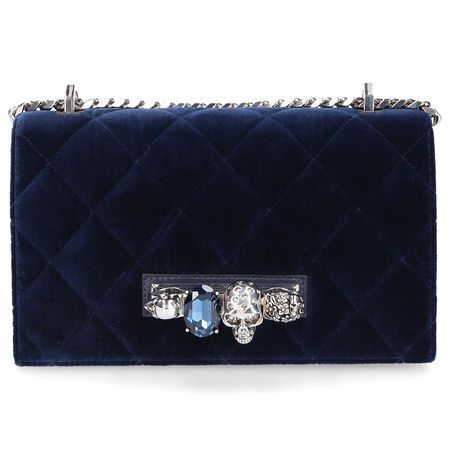 Alexander McQueen  Handtasche JEWELLED SATCHEL Samt Logo Schmuckstein blau