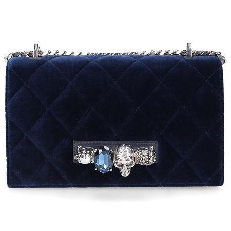 Alexander McQueen Handtasche JEWELLED SATCHEL Samt Logo Schmuckstein blau schwarz