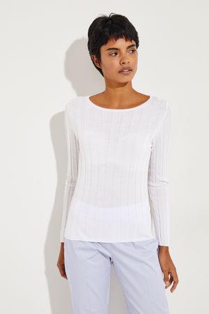 ALLUDE CASHMERE Allude - Baumwoll-Seiden-Longsleeve Weiß