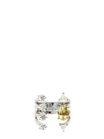Delfina Delettrez  - Ring 'Today Tomorrow Dots' Weißgold/Aquamarin grau
