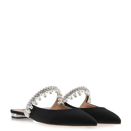 Aquazzura  - Slippers Exquisite aus Stoff schwarz
