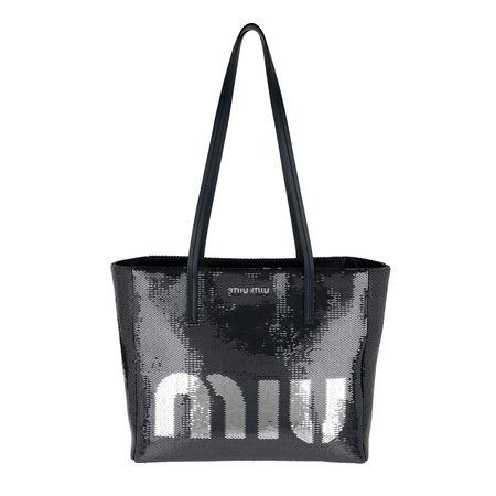 Miu Miu  Tote  -  Logo Shopping Bag Blu/Argento  - in marine  -  Tote für Damen grau