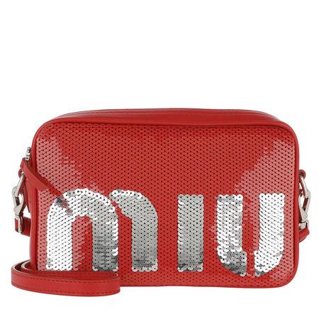 Miu Miu  Umhängetasche  -  Sequin Logo Crossbody Bag Rosso/Argento  - in rot  -  Umhängetasche für Damen rot