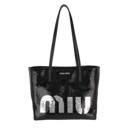 Miu Miu  Shopper  -  Logo Shopping Bag Nero/Argento  - in schwarz  -  Shopper für Damen schwarz