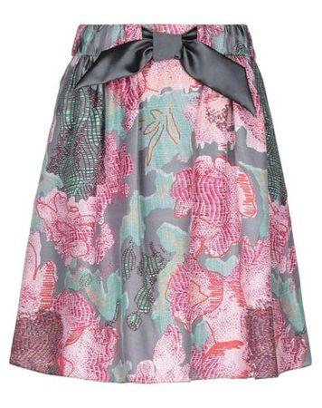 Armani Collezioni  38 Damen Grau Knielanger Rock Seide, Polyester rosa