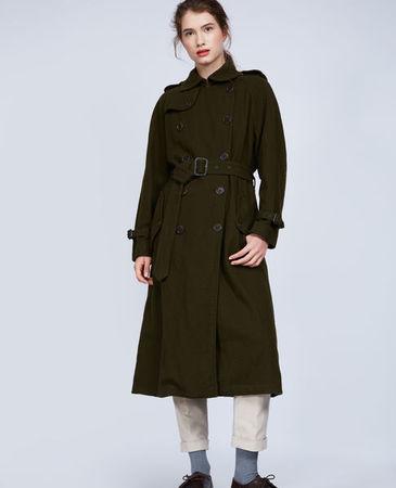 Aspesi  Trenchcoat aus Wolle Damen | Militärgrün grau