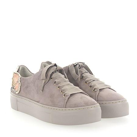 Attilio Giusti Leombruni AGL  Sneaker D925090 Plateau Veloursleder grau Patch-Blumen braun
