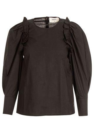 ba&sh Bluse aus Baumwolle in Schwarz grau