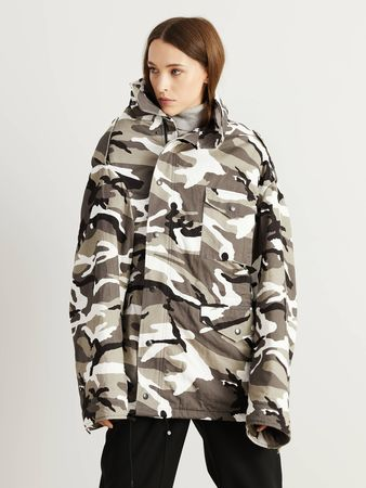 Balenciaga  - Baumwoll-Camouflage-Parka Grau