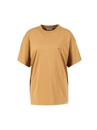 Balenciaga  - Baumwoll-T-Shirt mit Logo-Stickerei Beige