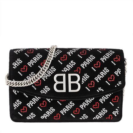 """Balenciaga  Clutch  -  BB Wallet On Chain """"Love Paris"""" Velvet Black  - in schwarz  -  Clutch für Damen schwarz"""
