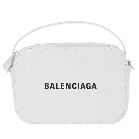 Balenciaga  Crossbody Bags - Camera Bag Shiny Embossed Croc - in weiß - für Damen grau