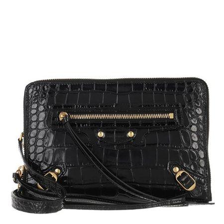 Balenciaga  Crossbody Bags - Neo Classic S Pouch Shiny Embo Croc Calf - in schwarz - für Damen