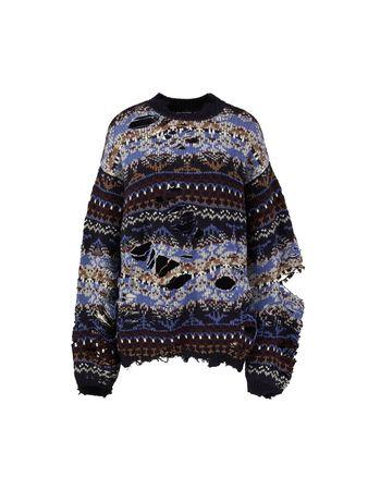 Balenciaga  - Destroyed Woll-Pullover Multi