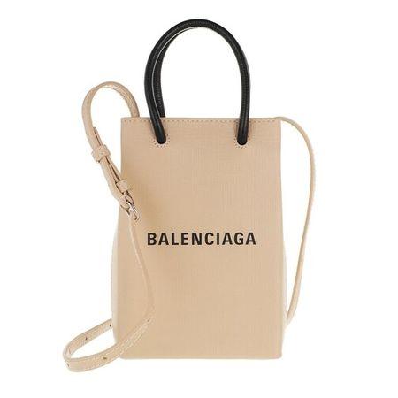 Balenciaga  Handyhüllen - Shopping Phone Holder Bag Leather - in beige - für Damen