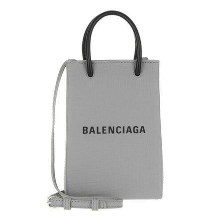 Balenciaga  Handyhüllen - Shopping Phone Holder Bag Leather - in grau - für Damen