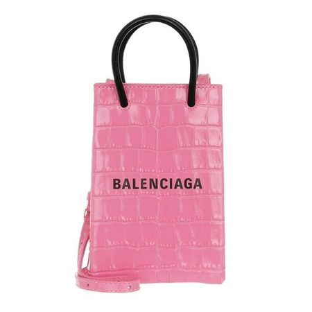 Balenciaga  Handyhüllen - Shopping Phone Holder Bag Leather - in pink - für Damen rosa