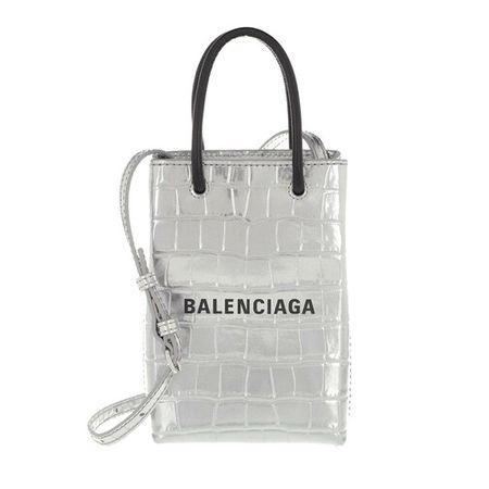 Balenciaga  Handyhüllen - Shopping Phone Holder Bag Textured Leather - in silber - für Damen