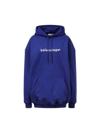 Balenciaga  - Hoodie mit Logo-Print Violett blau