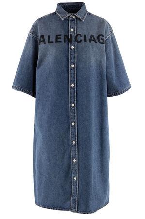 Balenciaga  - Jeanskleid mit Logo-Bestickung grau